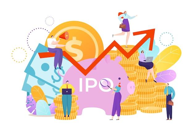 Inversión de dinero para negocios ipo con moneda Vector Premium