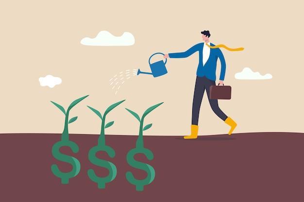 Inversión de dividendos, prosperidad y crecimiento económico o concepto de ahorro y beneficio empresarial Vector Premium