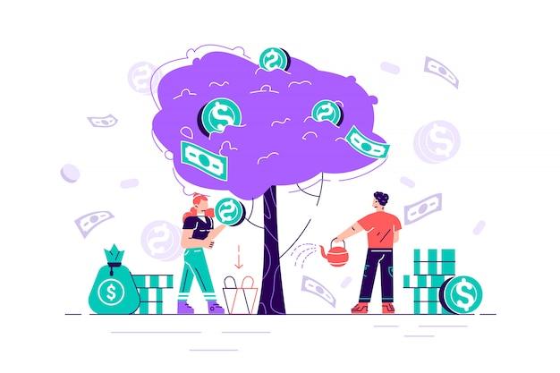 Inversión empresarial beneficio ilustración plana. ingresos y metáfora de ingresos. empresario y empresaria personajes recogiendo dinero del árbol del dinero. estrategia de los inversores, concepto de financiación. Vector Premium