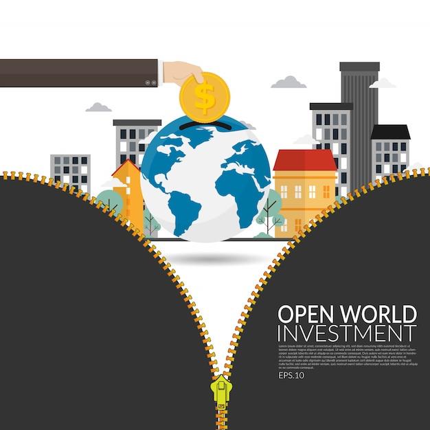 La inversión de las empresas multinacionales en el mundo en desarrollo abre nuevos horizontes para el desarrollo económico y para el concepto de estrategia de la empresa. moneda de oro de ahorro de mano de hombre de negocios en el mundo Vector Premium