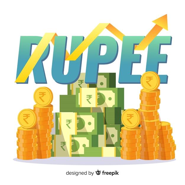 Inversión de rupias indias vector gratuito