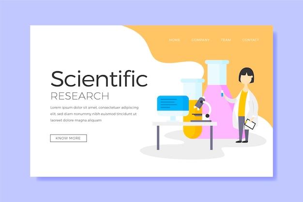 Investigación científica y página de inicio del personaje vector gratuito