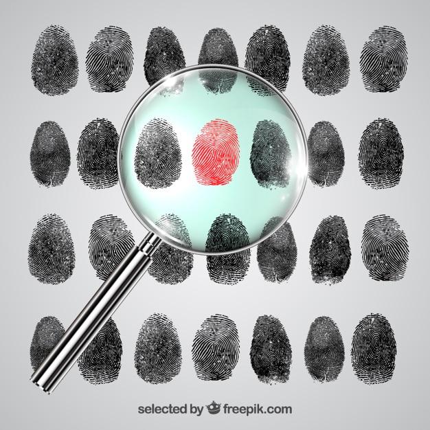 Investigación de huellas dactilares vector gratuito