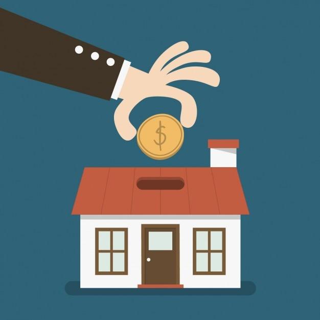Invirtiendo dinero en una casa vector gratuito