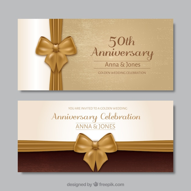 Invitación De Aniversario De Bodas De Oro Vector Premium