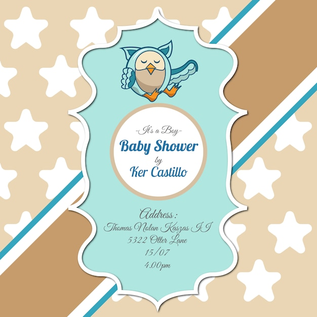 Invitación De Baby Shower Con Búho Descargar Vectores Gratis
