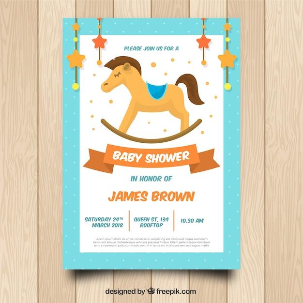 Invitación De Baby Shower Con Caballo Vector Gratis