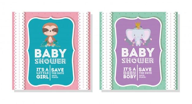 Invitación de baby shower con dibujos animados de elefantes y perezosos Vector Premium