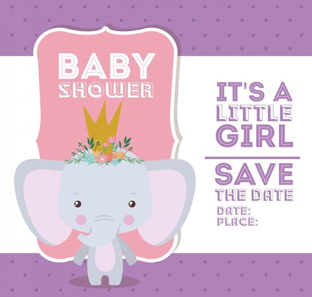 Invitación de baby shower con dibujos animados de elefantes Vector Premium
