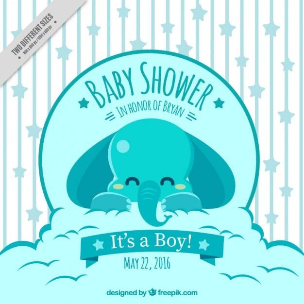 Invitacion Para Baby Shower Con Un Elefante Descargar Vectores Gratis