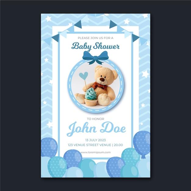 Invitación de baby shower con foto vector gratuito