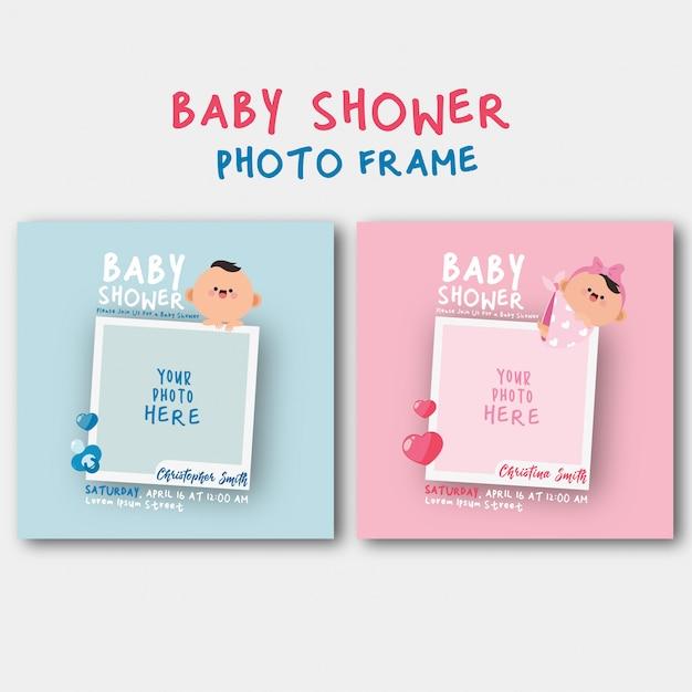 Invitación de baby shower con plantilla de marco de fotos Vector Premium