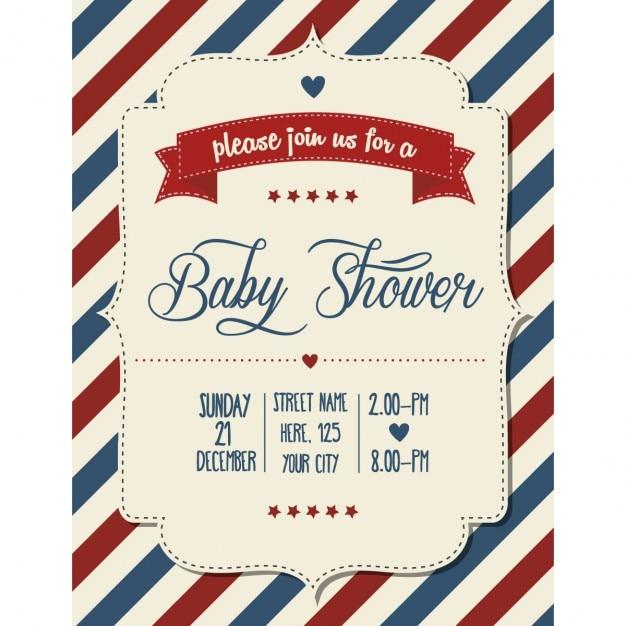 Invitación A Baby Shower Retro Vector Gratis