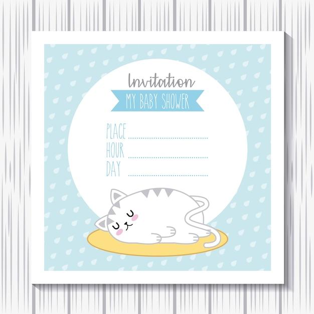 Invitación bebé ducha conejo kawaii sueño tarjeta de dibujos animados Vector Premium