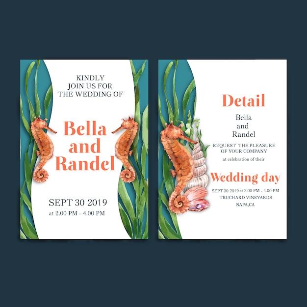 Invitación de boda acuarela con caballito de mar con concepto de algas para la tarjeta de decoración. vector gratuito