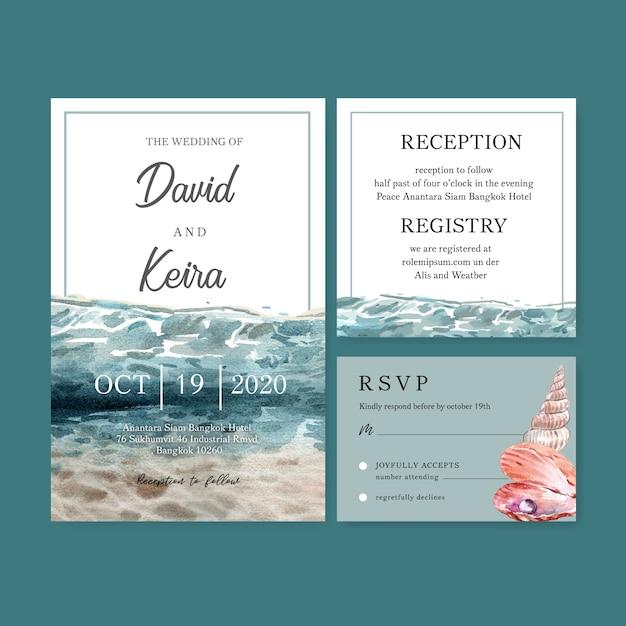 Invitación de boda acuarela con debajo del agua, plantilla de ilustración de color brillante. vector gratuito