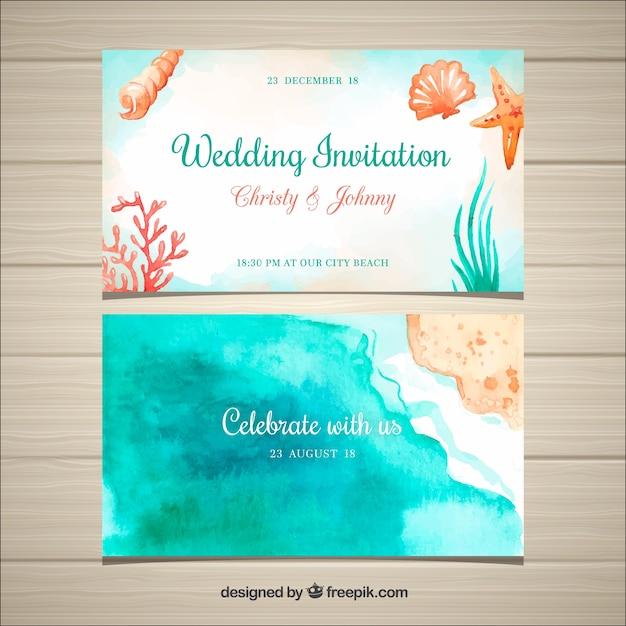 Invitación de boda en acuarela con elementos de playa vector gratuito