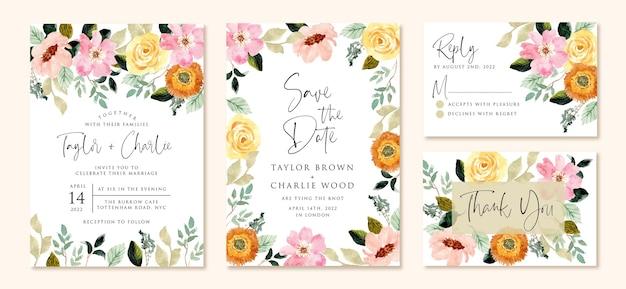 Invitación de boda con acuarela flor rosa amarilla Vector Premium