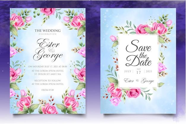 Invitación de boda acuarela floral y plantilla de tarjeta de hojas Vector Premium