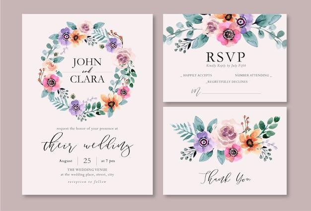 Invitación de boda de acuarela floral de primavera fresca y púrpura Vector Premium