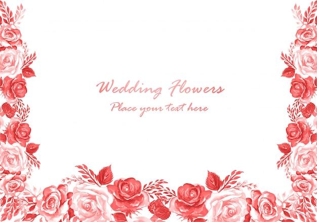 Invitación de boda acuarela flores decorativas plantilla de tarjeta vector gratuito