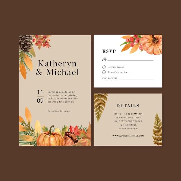 Invitación de boda acuarela con hermoso tema de otoño vector gratuito