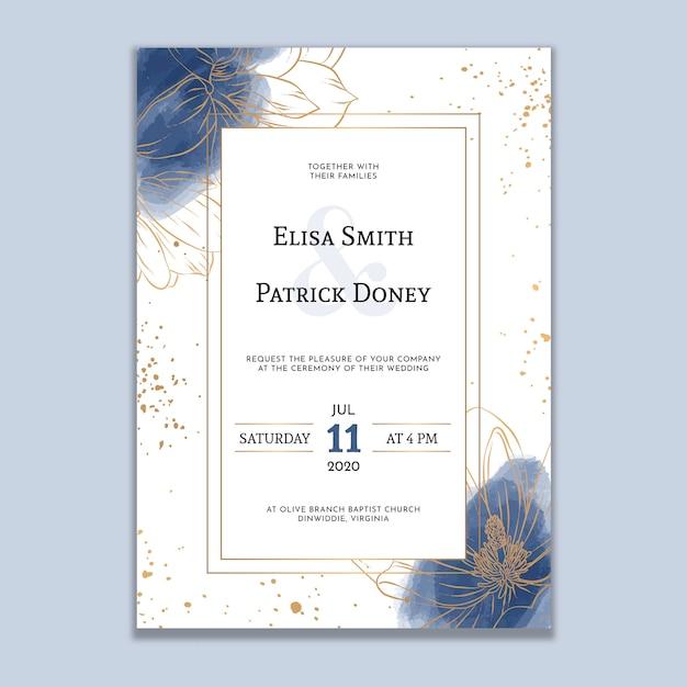 Invitación de boda acuarela con líneas doradas Vector Premium