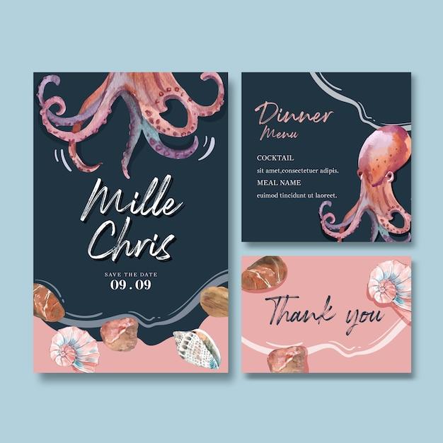 Invitación de boda acuarela con pulpo y conchas, contraste creativo color ilustración. vector gratuito