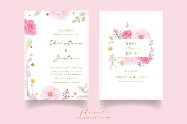 Invitación de boda acuarela rosa rosa vector gratuito