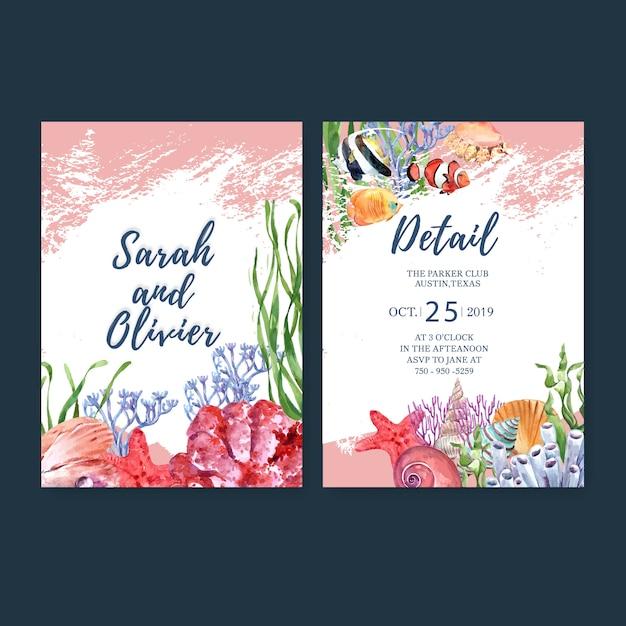 Invitación de boda acuarela con tema sealife, plantilla de ilustración acuarela. vector gratuito
