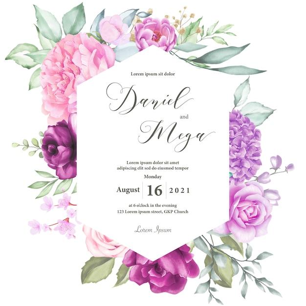 Invitación de boda acuarela Vector Premium