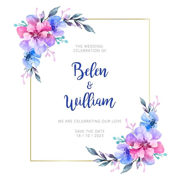 Invitación de boda acuarela vector gratuito