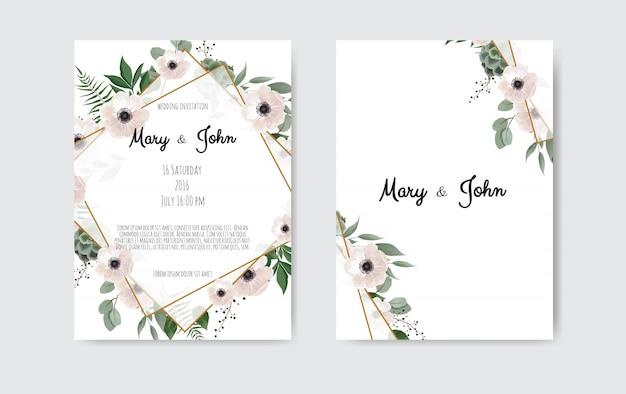 Invitación de boda botánica plantilla de tarjeta de diseño, flores blancas y rosadas. Vector Premium