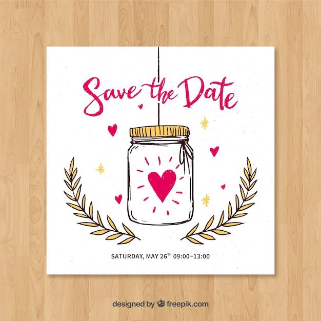 Invitación de boda con bote y corazones dibujados a mano vector gratuito