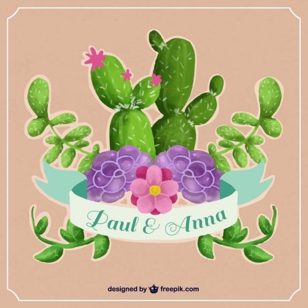 Invitación de boda con cactus de acuarela Vector Premium