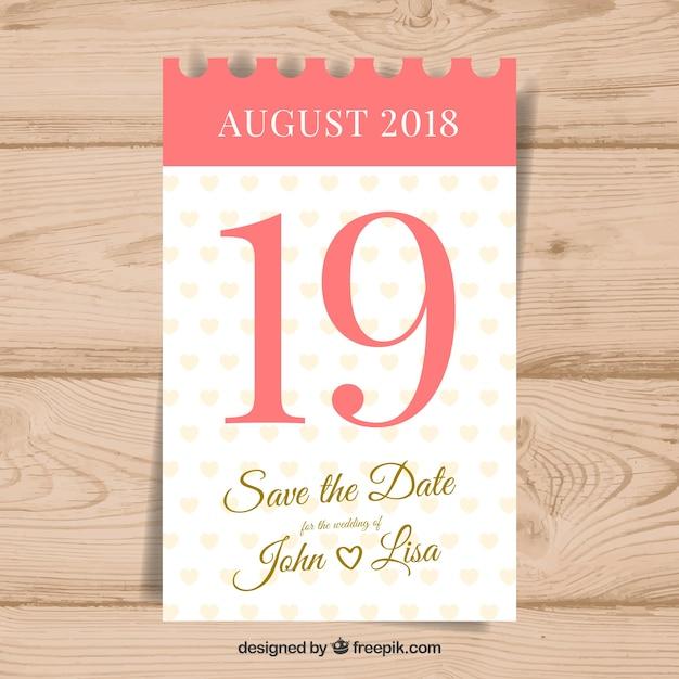 Invitación de boda con calendario clásico vector gratuito
