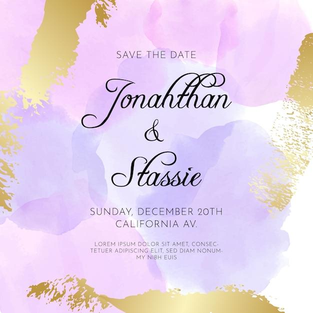 Invitación de boda caligráfica con manchas de acuarela vector gratuito