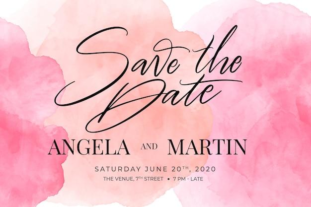 Invitación de boda caligráfica con plantilla de manchas de acuarela Vector Premium