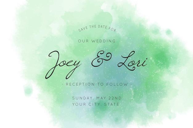 Invitación de boda caligráfica con tonos verdes. Vector Premium