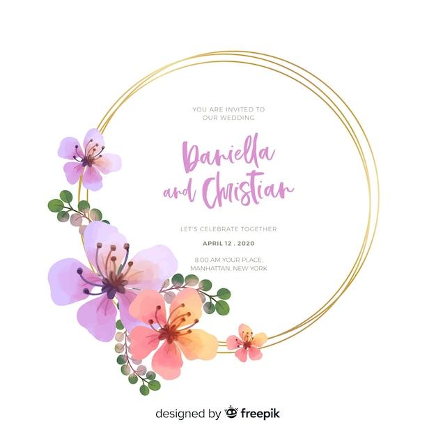 Invitación de boda colorida acuarela marco floral vector gratuito