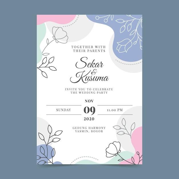 Invitación de boda colorida dibujada a mano vector gratuito