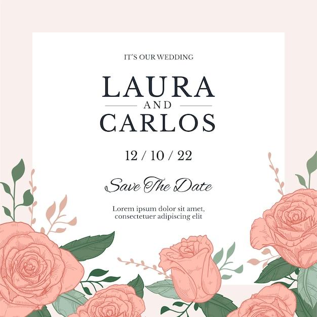 Invitación de boda colorida plantilla dibujada a mano vector gratuito