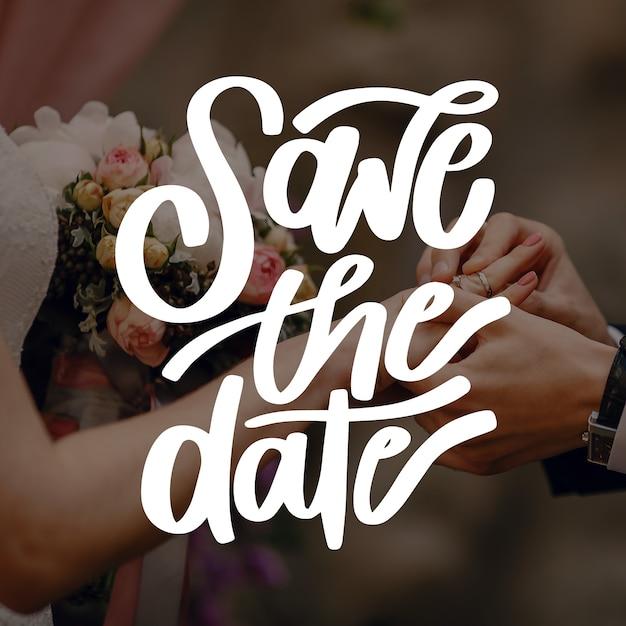 Invitación de boda con concepto de foto vector gratuito
