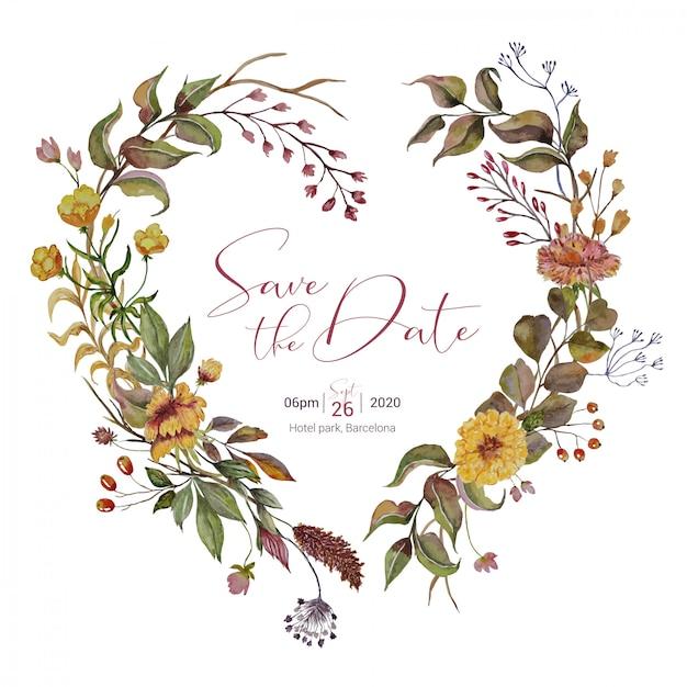 Invitación de boda con corona de corazón de otoño Vector Premium