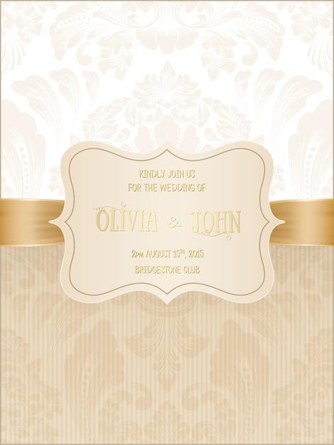 Invitación de boda con damasco y elementos florales elegantes. vector gratuito