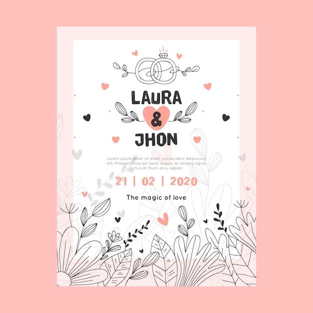 Invitación de boda de diseño global con hojas vector gratuito