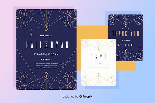 Invitación de boda de diseño plano con puntos y líneas vector gratuito