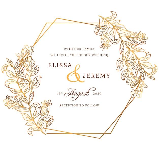 Invitación de boda dorada vector gratuito
