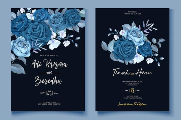 Invitación de boda elegante corona floral vector gratuito