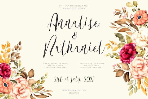Invitación de boda elegante con flores vintage vector gratuito
